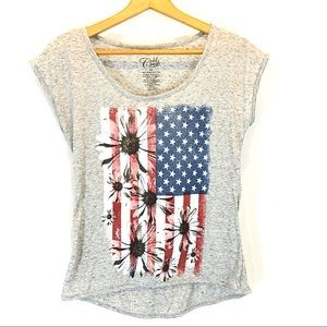 Cold Crush Gray American Flag T-Shirt with Flowers
